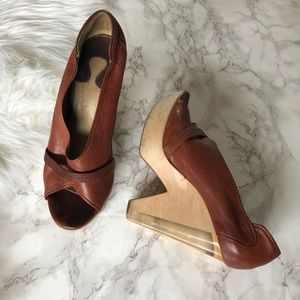 Chloé Platform Peep Toe Leather Heels